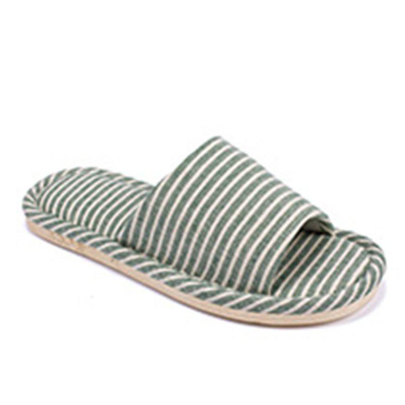 Warrior Home Slipper Open Toe Anti-Slip Stripe Pattern Простой стиль Lover Style Linen Home Slipper