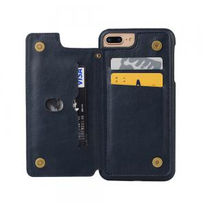 for iPhone 7 Plus Male Style Leather Grain Phone Case with Stand Card Holder -