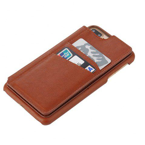 Chic for iPhone 7 Plus Male Style Leather Grain Phone Case with Stand Card Holder