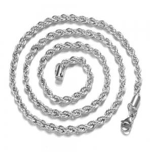 Mens 925 Sterling Silver Necklace Twisted Rope Chain 4mm -