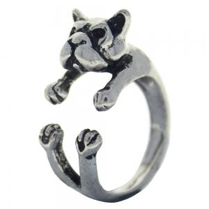 French bulldog dog animal ring womens open finger jewelry -