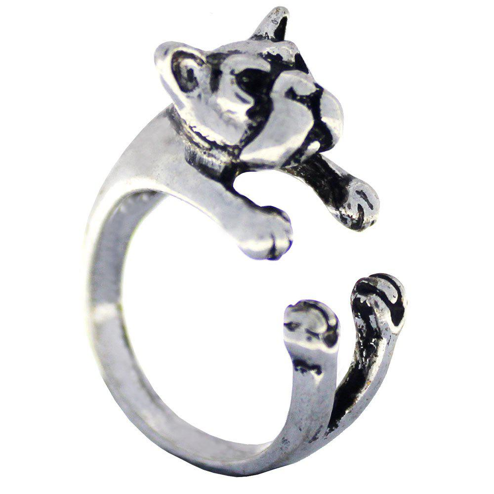 Shop French bulldog dog animal ring womens open finger jewelry