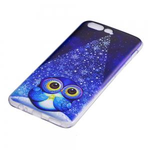 For One Plus 5 Cell Phone Shell Soft TPU Cute Owl Christmas Tree Transparent Shell -
