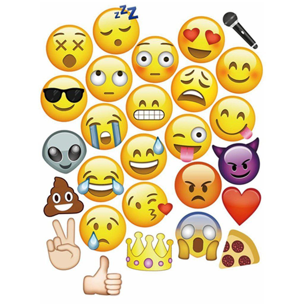 Yellow 27pcs 27 Pcs With Bamboo Sticks Emoji Photo Booth Props Party ...