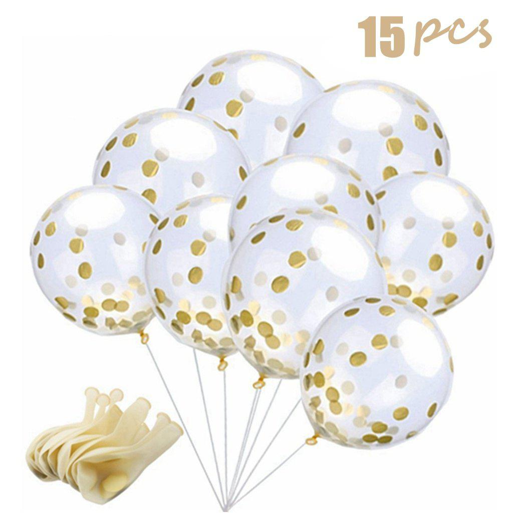Gold 15pcs 15 Pieces Gold Confetti Balloons 12 Inches Party Balloons ...