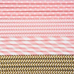 100pcs Paper Straws Drinking Decoration Straw for Birthday, Wedding, Christmas, Celebration Parties(Gold and Pink) -