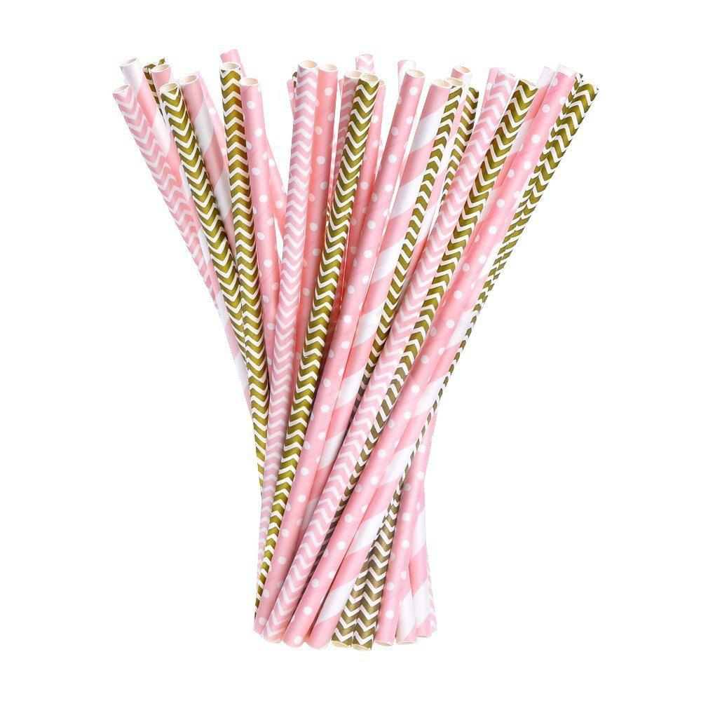 Outfits 100pcs Paper Straws Drinking Decoration Straw for Birthday, Wedding, Christmas, Celebration Parties(Gold and Pink)