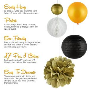 27 pcsgold black white tissue paper pompom and balloons birthday party decoration kit for adults women girls anniversary engagement wedding celebration Christmas baby and bridal shower -