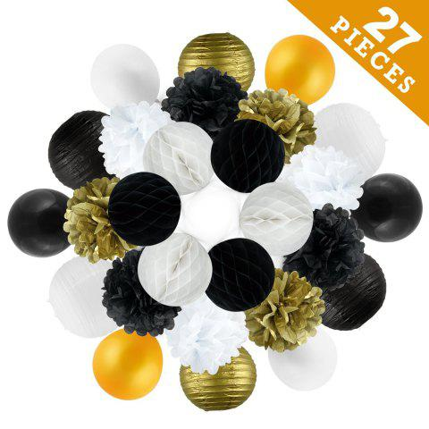 Cheap 27 pcsgold black white tissue paper pompom and balloons birthday party decoration kit for adults women girls anniversary engagement wedding celebration Christmas baby and bridal shower