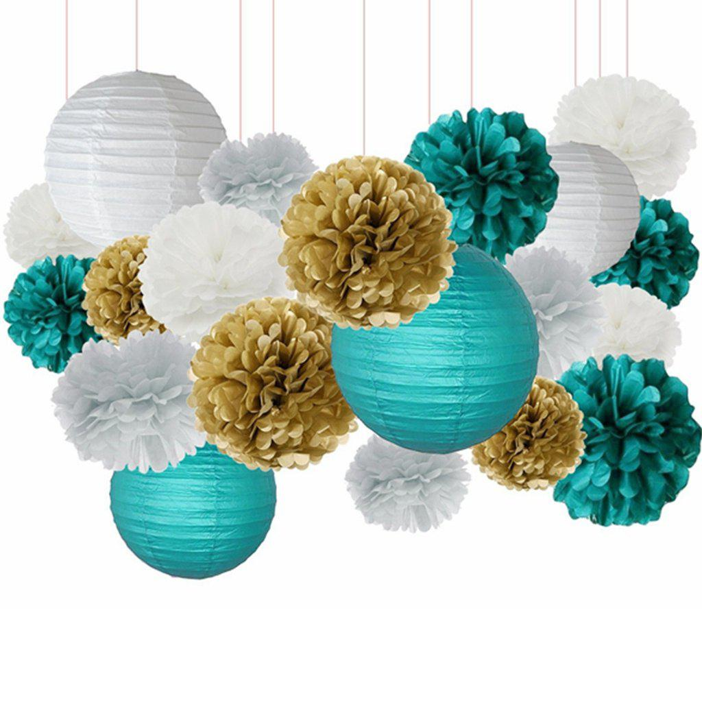 best white teal grey gold tissue paper pom pom paper lanterns mixed package for teal themed