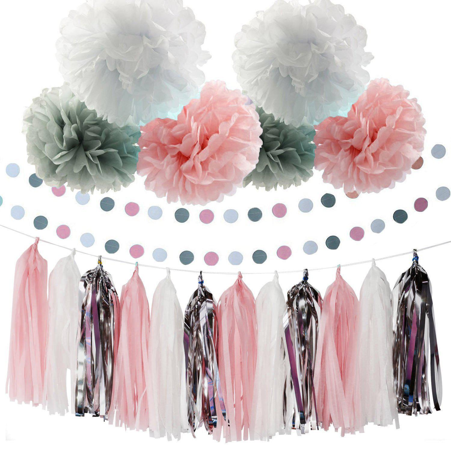 Baby Pink White Grey Shower Party Paper Decorations First Birthday Tissue Pom Tel Garland Circle