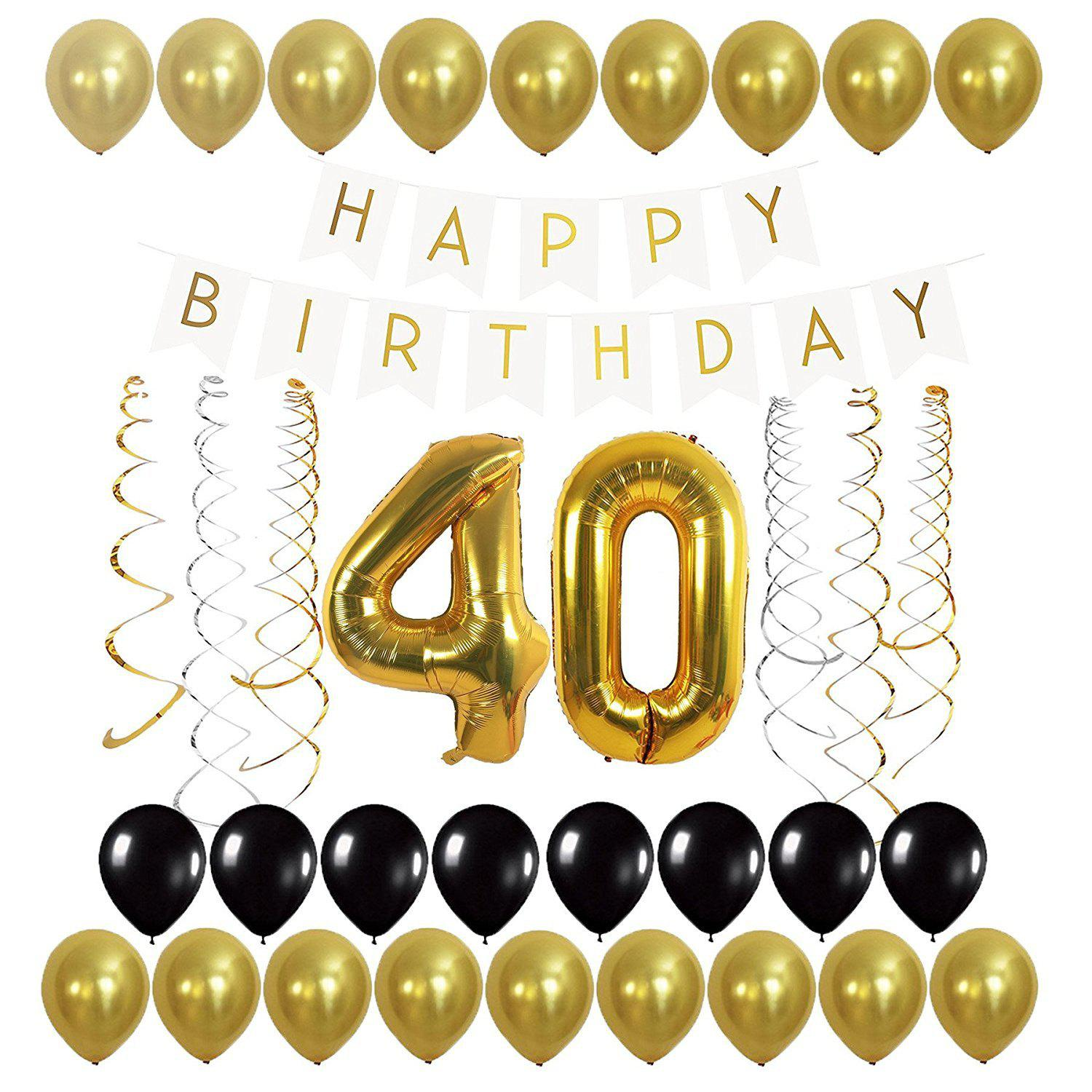Unique 40th Balloons Birthday Banner And Streamers Set For Decoration