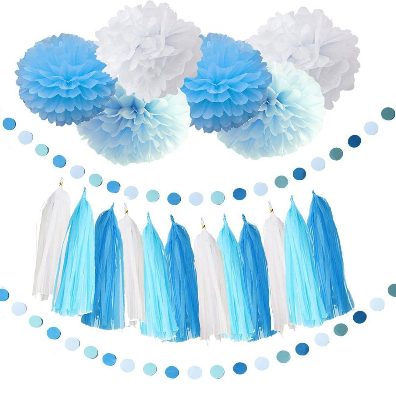 Baby Blue White Turquoise Tissue Paper Pom Poms Snow Theme Party Decor Boy Shower Birthday Decorations First