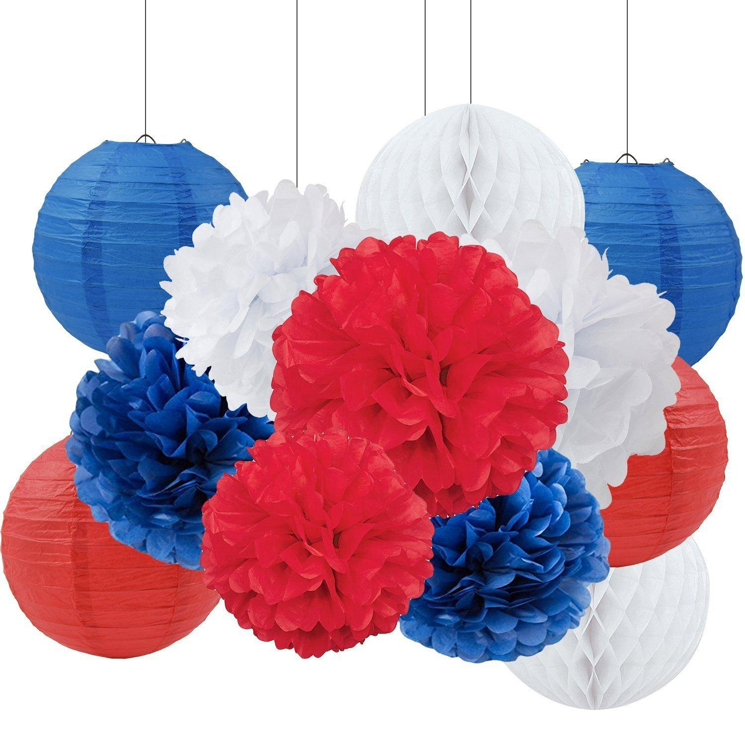 Red blue 12pcs tissue paper pom pom paper flower paper lantern unique tissue paper pom pom paper flower paper lantern paper honeycomb decoration for baby shower party mightylinksfo