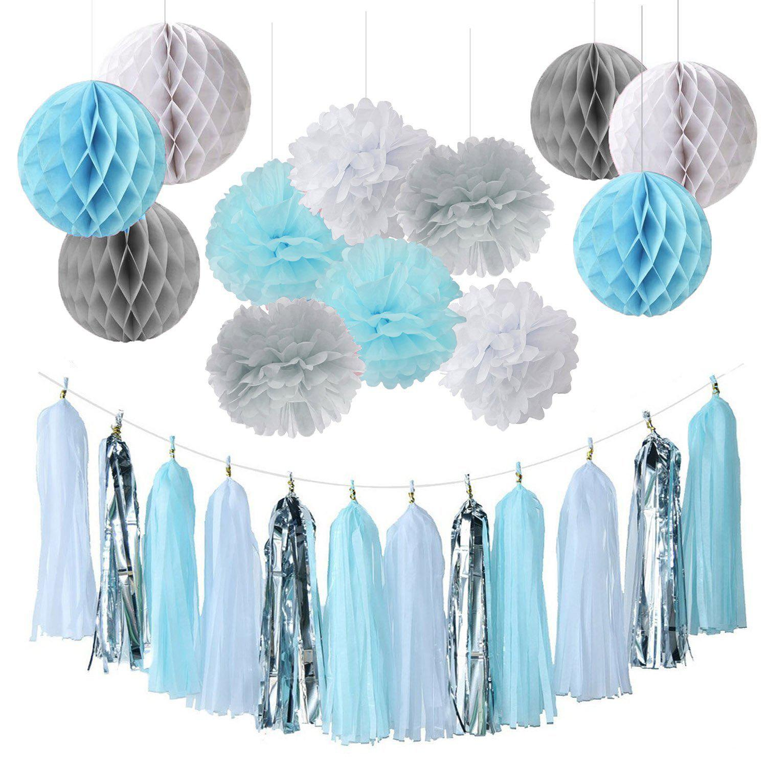 Baby Boy Shower Decorations Tissue Paper Pom Tel Garland Honeycomb For Birthday