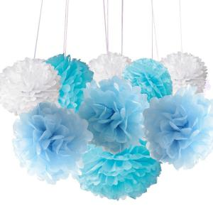 EASTERN HOPE 8Pcs Tissue Pom Poms and Lanterns Bundle Wedding Party Baby Girl Nursery Room Decoration -