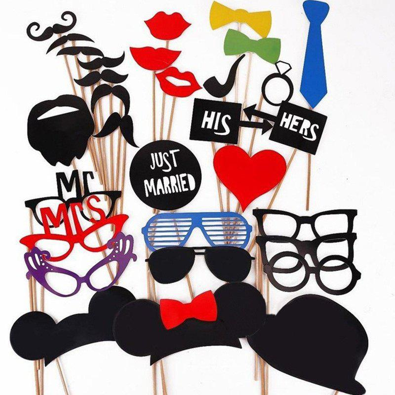 Hot 31PCS/Set DIY Wedding Birthday Party Cosplay Mask Photo Booth Props On A Stick