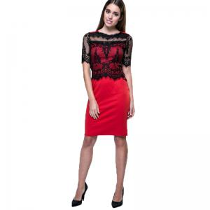 New Elegant Retro Floral Sexy Lace Half Sleeve Peplum Patchwork Party Club Bodycon Pencil Dress -