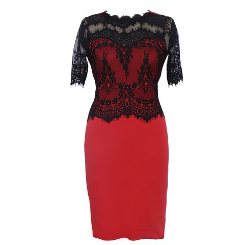 Outfits New Elegant Retro Floral Sexy Lace Half Sleeve Peplum Patchwork Party Club Bodycon Pencil Dress
