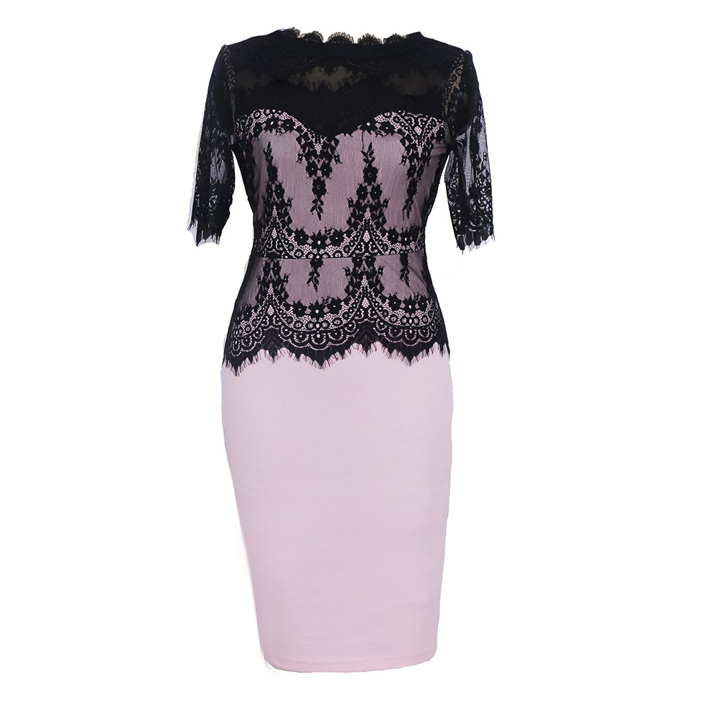 Chic New Elegant Retro Floral Sexy Lace Half Sleeve Peplum Patchwork Party Club Bodycon Pencil Dress