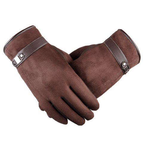 Online Autumn and Winter Touch Screen Glove Male Cashmere with Velvet and Warm Car Ride Without Down Suede