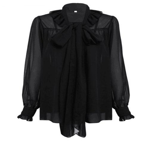 Discount Bow Collar and Ear Cuffs Chiffon Shirt