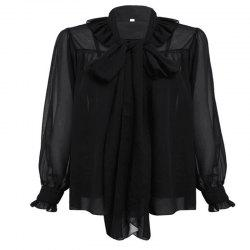 Bow Collar and Ear Cuffs Chiffon Shirt -