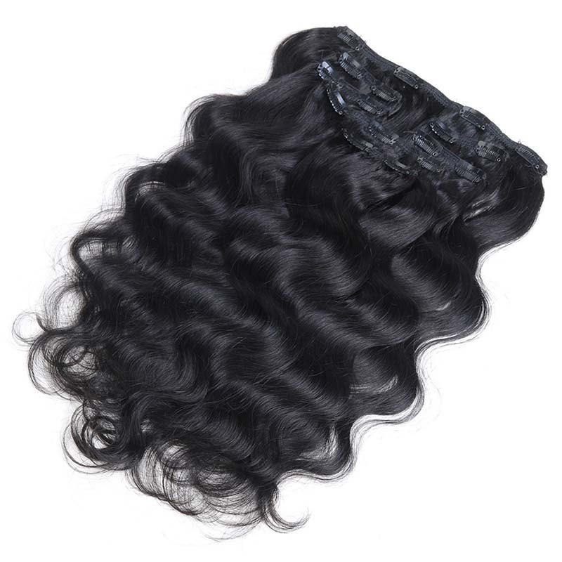 Black 12inch Body Wave Chinese Remy Hair Full Head Natural 7 Pieces