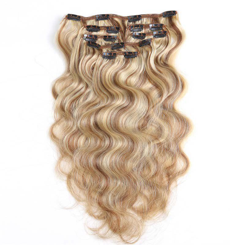 2018 Body Wave Chinese Remy Hair Light Blonde 613 Full Head Natural