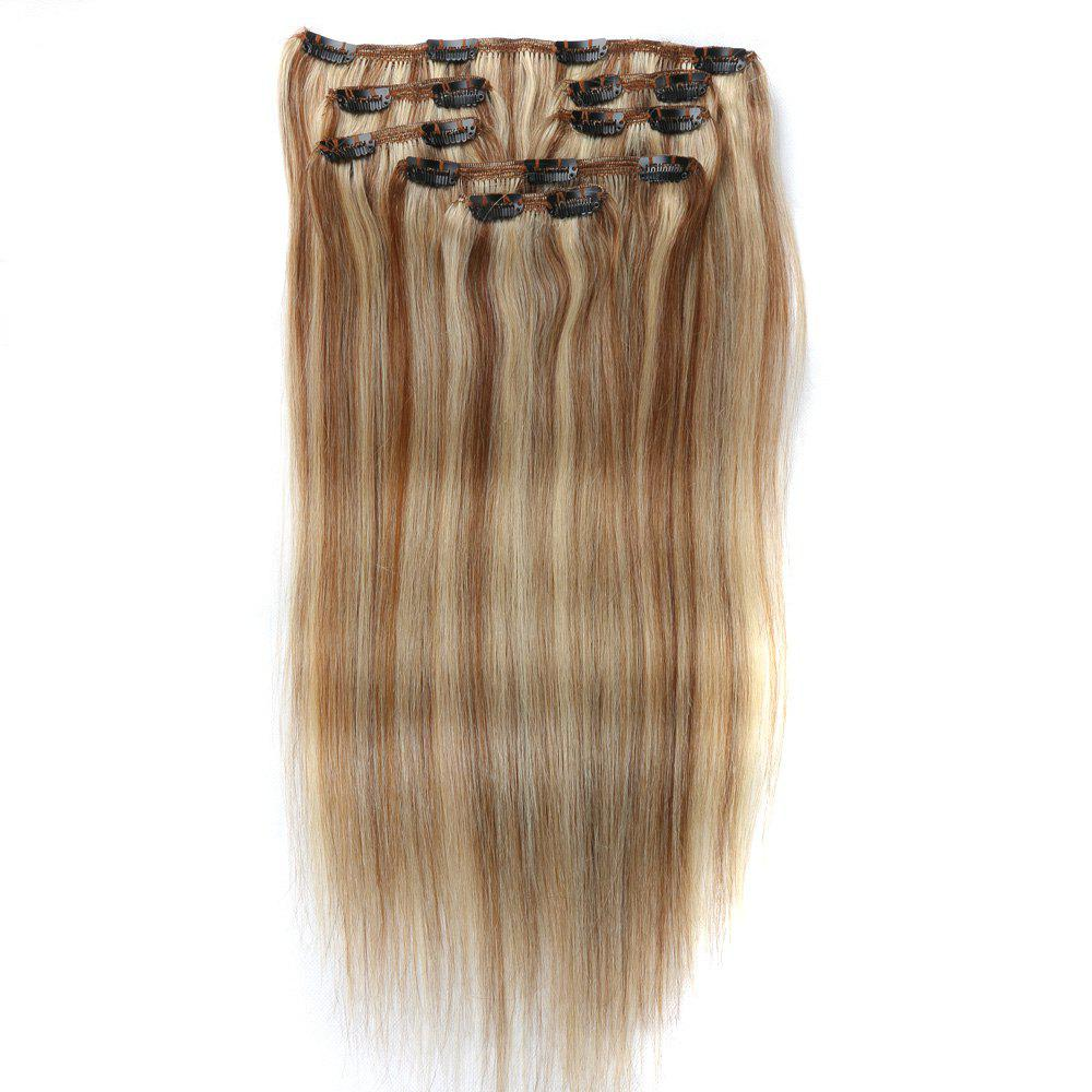 Golden 12inch Straight Chinese Remy Piano Color Hair Full Head