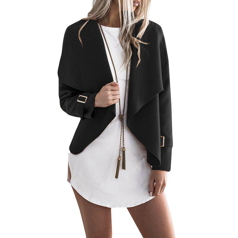 Discount Lapel Open Front Wool Blend Coat
