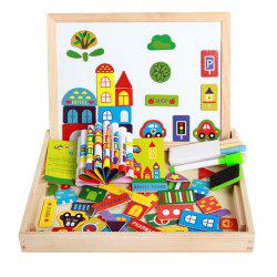 Magnetic Jigsaw Puzzles Tech Educational Wooden Toy for Kids Double Sided Drawing Board -