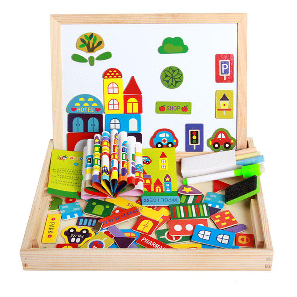 New Magnetic Jigsaw Puzzles Tech Educational Wooden Toy for Kids Double Sided Drawing Board