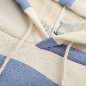 Pure Cotton Striped Loose Shoulder Hoodie -
