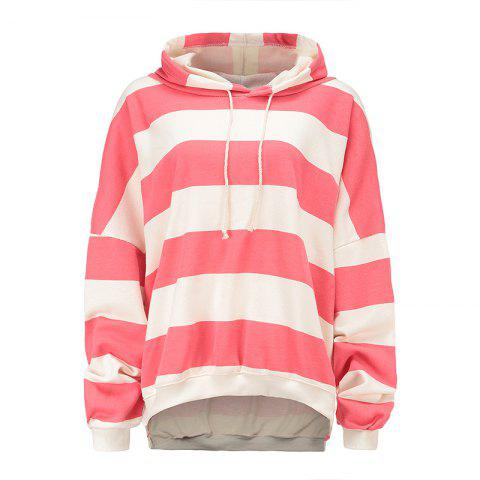 Shop Pure Cotton Striped Loose Shoulder Hoodie