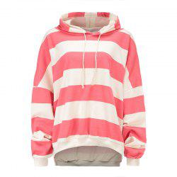 Cotton Striped Loose Shoulder Hoodie -