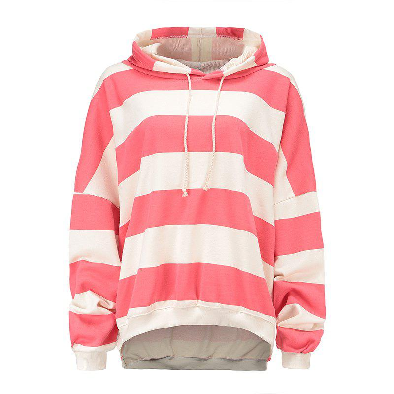 Shops Cotton Striped Loose Shoulder Hoodie
