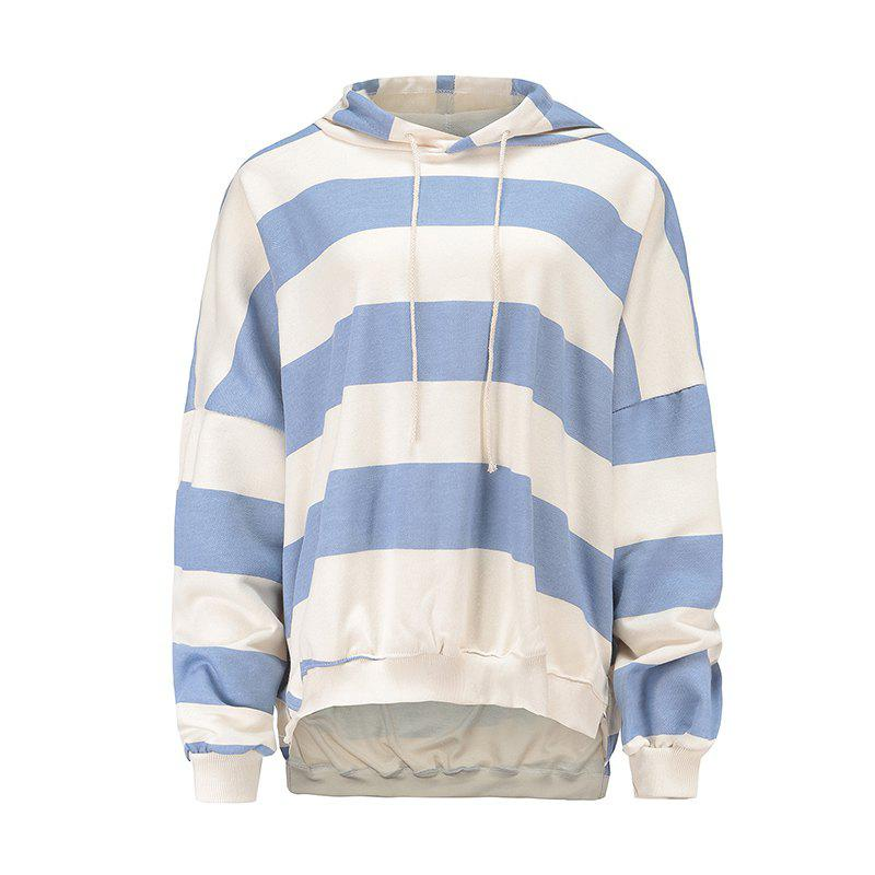 Chic Pure Cotton Striped Loose Shoulder Hoodie