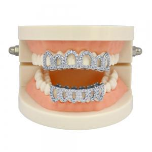Hip Hop 18K Gold Plated Hollow CZ Stone Teeth Grillz -