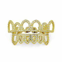 Hip Hop 18K Plaqué Or Creux CZ Pierre Dents Grillz -