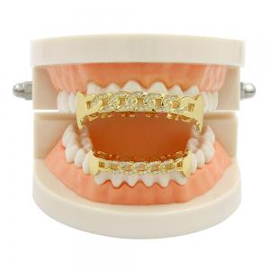 Hip Hop 18K Gold Plated Hollow Chain Teeth Grillz -