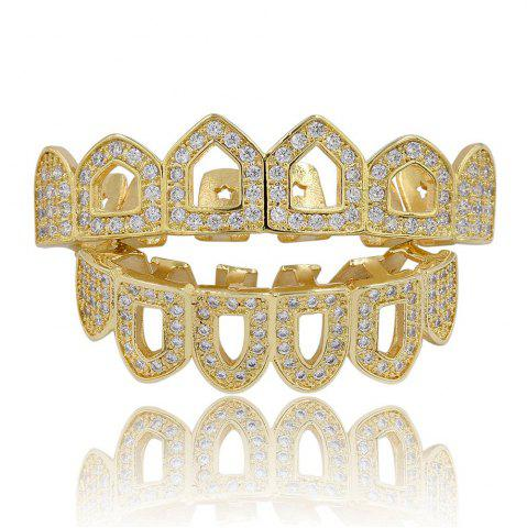 Outfit Hip Hop 18K Gold Plated Hollow Micro Pave CZ StoneTeeth Grillz