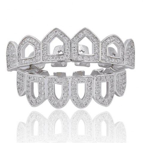 Fashion Hip Hop 18K Gold Plated Hollow Micro Pave CZ StoneTeeth Grillz