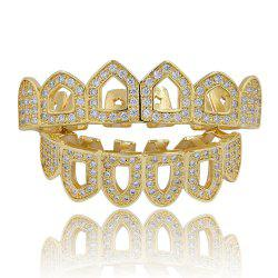 Hip Hop 18K Gold Plated Hollow Micro Pave CZ StoneTeeth Grillz -