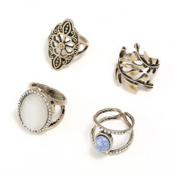 4PCS National Wind Diamante Alloy Ring -