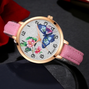 GAIETY G352 Women Flowers Face Leather Band Quartz Watches -