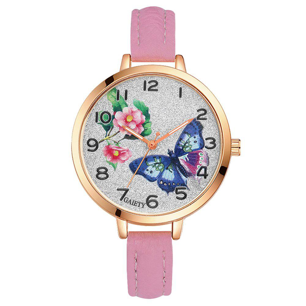 Best GAIETY G352 Women Flowers Face Leather Band Quartz Watches