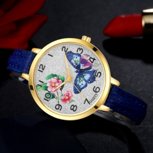 GAIETY G351 Women Flowers Dial Leather Band Quartz Watches -