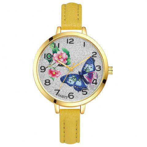 Latest GAIETY G351 Women Flowers Dial Leather Band Quartz Watches