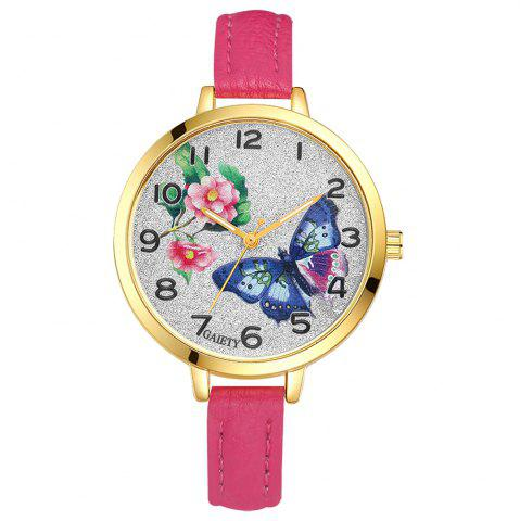 Best GAIETY G351 Women Flowers Dial Leather Band Quartz Watches